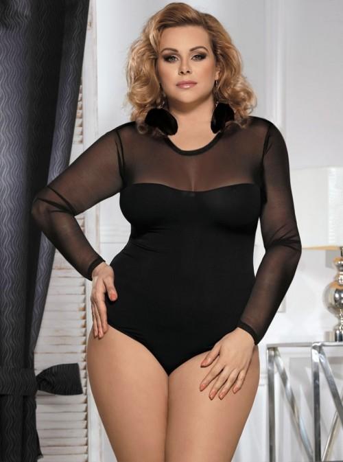 Body noir opaque avec manches longues | Vera