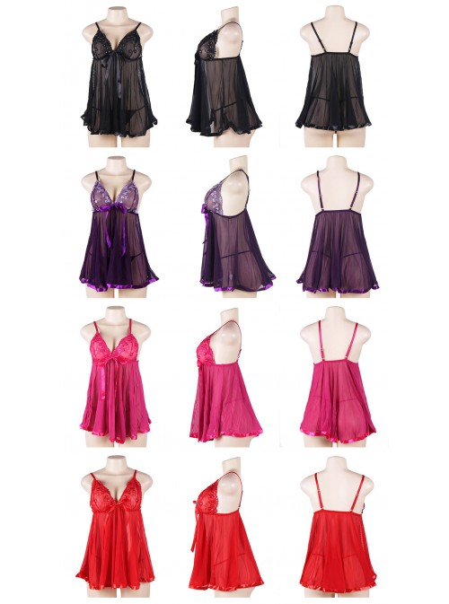 Babydoll femme ronde coupe large | noir, violet, rose ou rouge | Angie