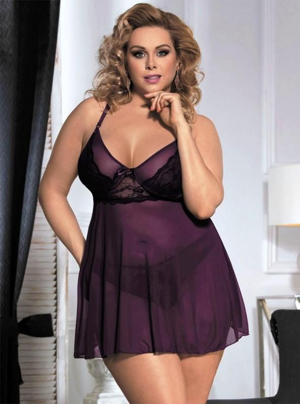Lingerie violette avec dentelle noire nuisette et culotte | Hanna