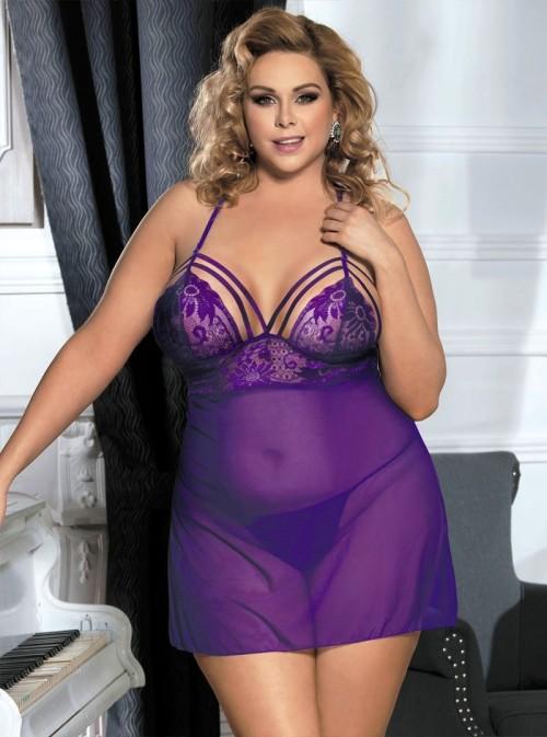 Babydoll violette avec poitrine cerclée | Lana