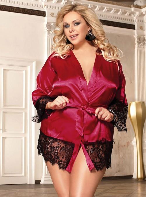 Lingerie de nuit déshabillé en satin rouge bordeaux | Marica