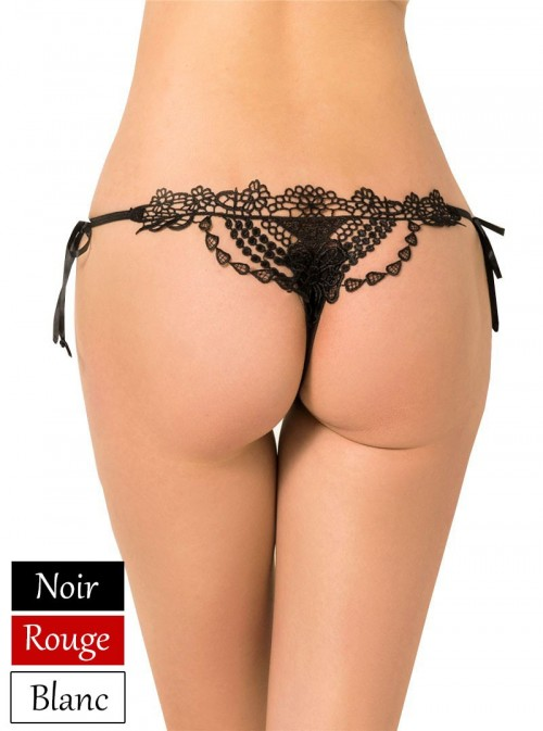 String chic luxe brodé | Noir, Rouge ou Blanc | Perla