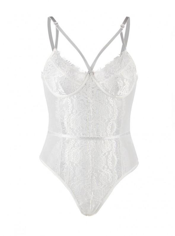Body blanc féminin avec dentelle luxe | Nocéa