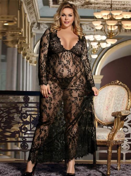 Robe longue noire grande taille en dentelle transparente | Sabrine