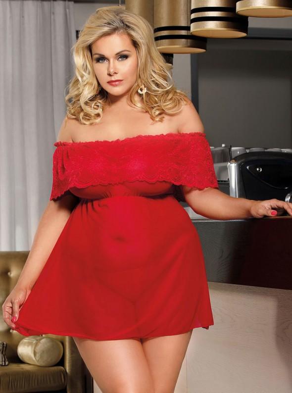 Nuisette rouge coupe large et épaules nues   Sharon