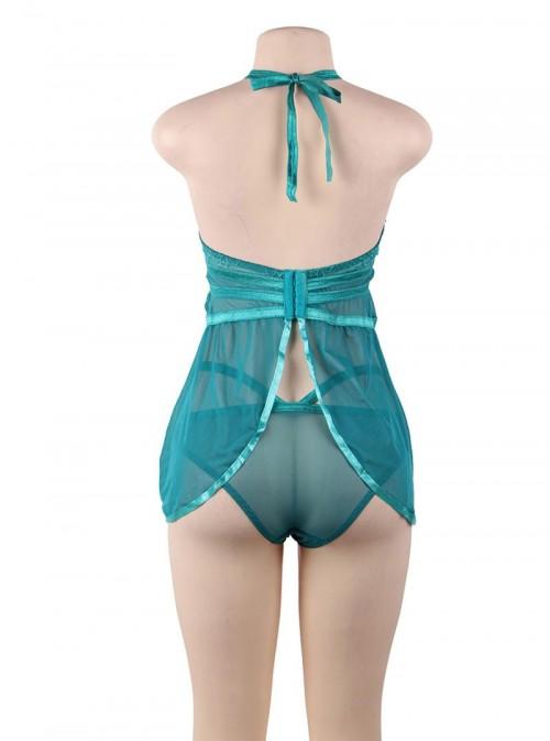 Nuisette turquoise (bleu-vert) avec ouverture sur la poitrine | Ruby