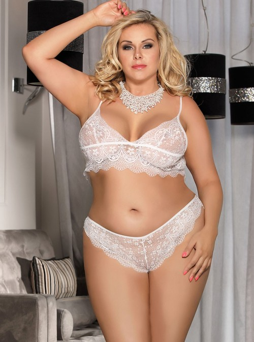 Ensemble lingerie grande taille soutien gorge et culotte dentelle blanc | Anita