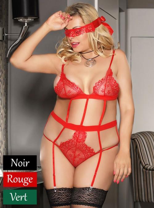 Ensemble érotique ficelles sexy (Noir, Vert ou Rouge) | Valentina