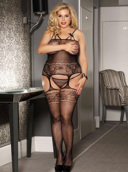 Combinaison sexy résille et porte jarretelles | Lizzy