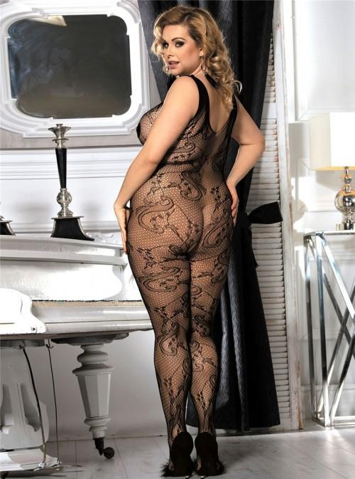 Collant de corps sexy en résille manches courtes | Fannie