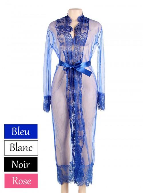 Déshabillé bleu transparent / translucide avec dentelle | Eléanore
