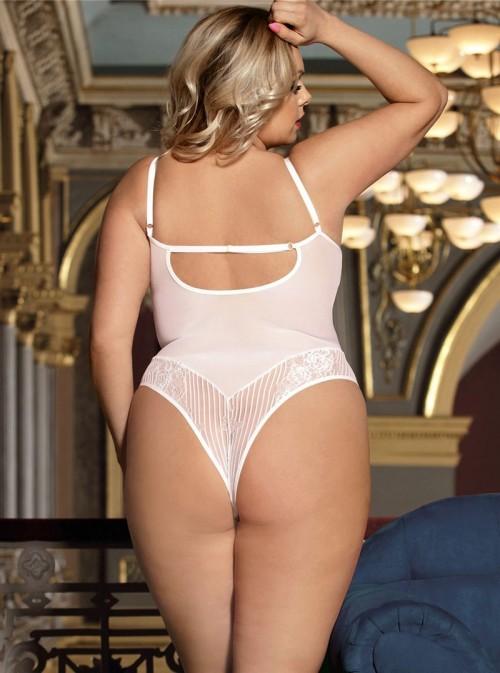 Body blanc avec armatures et tissu brodé transparent | Liz